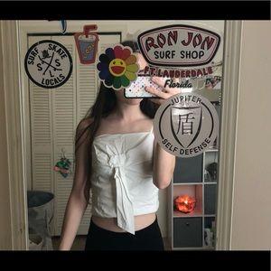 White crop guess shirt